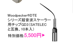 Woodpecker®DTEシリーズ超音波スケーラー用チップGD3(SATELECと互換、10本入)
